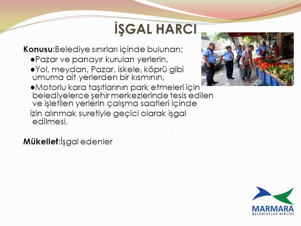 İŞGAL HARCI Konusu:Belediye sınırları içinde bulunan;
