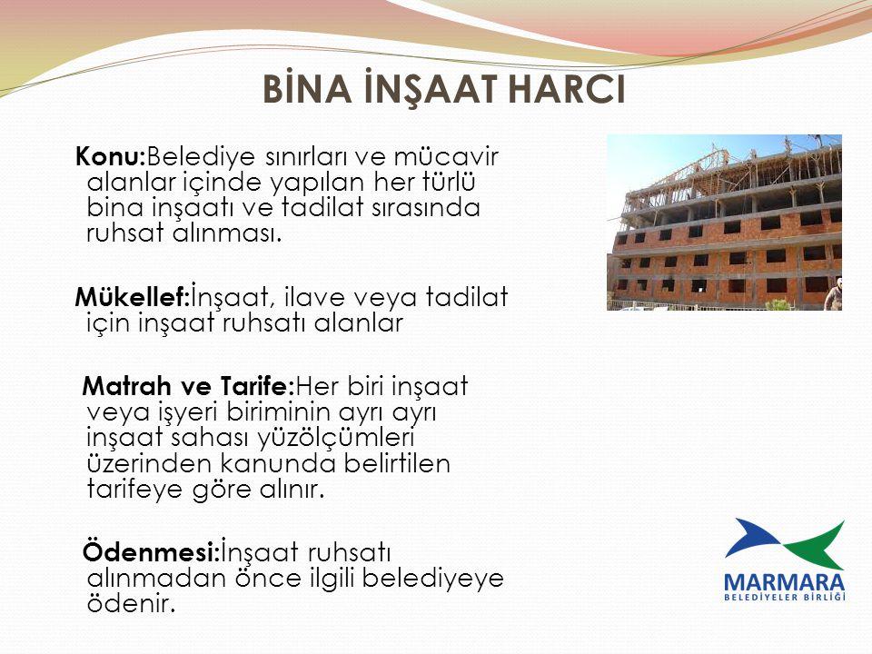 BİNA İNŞAAT HARCI Konu:Belediye sınırları ve mücavir alanlar içinde yapılan her türlü bina inşaatı ve tadilat sırasında ruhsat alınması.