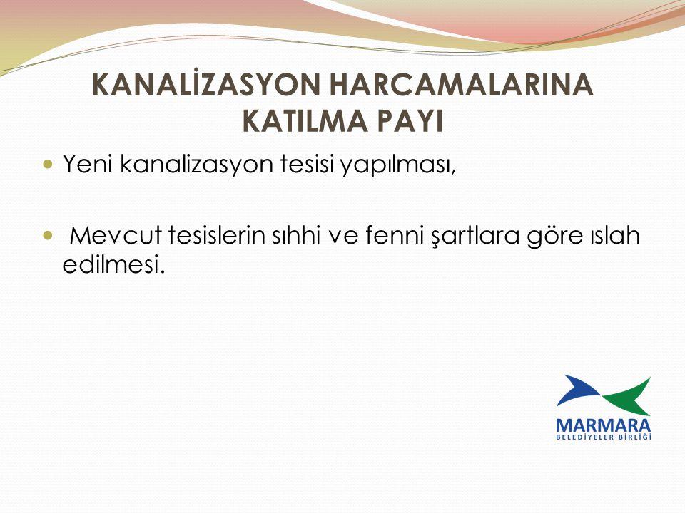 KANALİZASYON HARCAMALARINA KATILMA PAYI