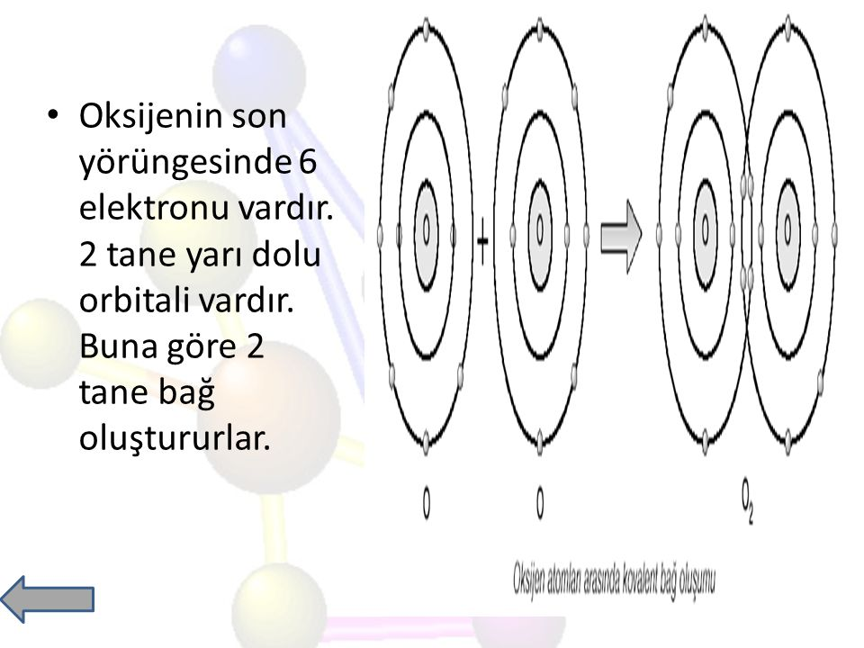 Oksijenin son yörüngesinde 6 elektronu vardır