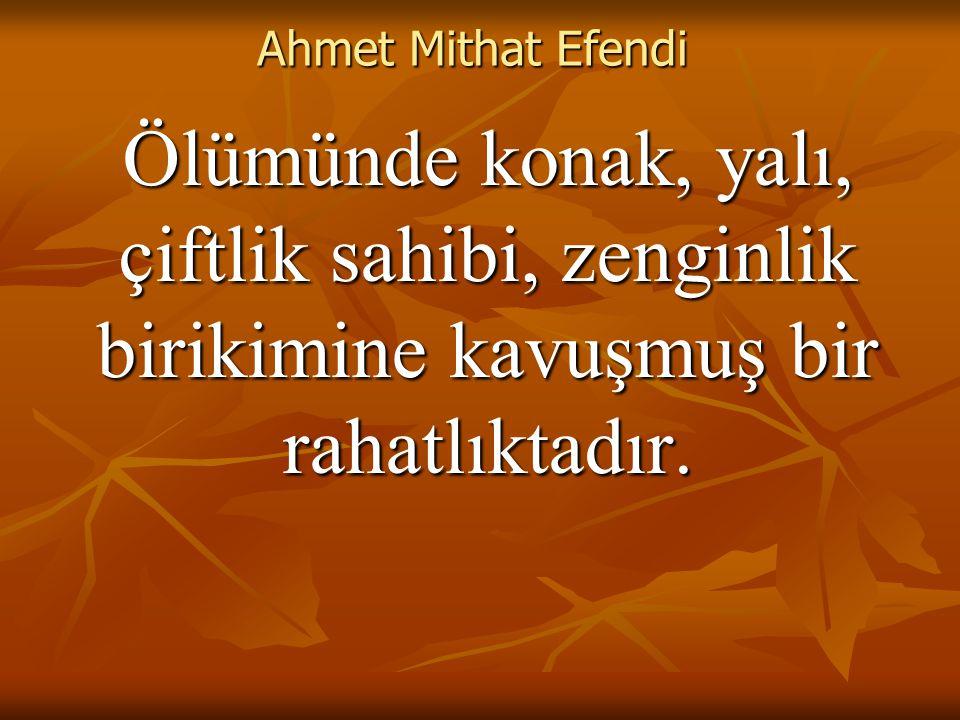 Ahmet Mithat Efendi Ölümünde konak, yalı, çiftlik sahibi, zenginlik birikimine kavuşmuş bir rahatlıktadır.