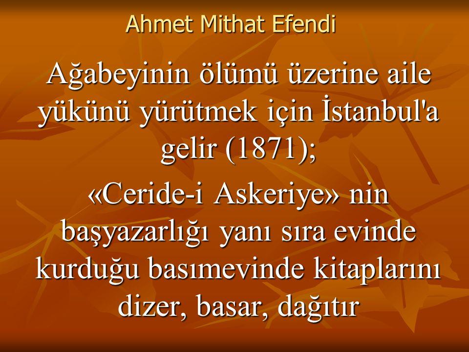 Ahmet Mithat Efendi Ağabeyinin ölümü üzerine aile yükünü yürütmek için İstanbul a gelir (1871);