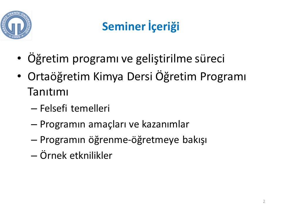 Öğretim programı ve geliştirilme süreci