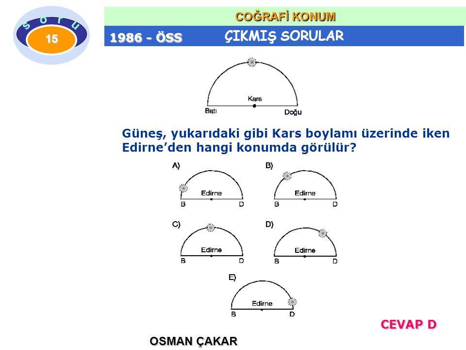 1986 - ÖSS Güneş, yukarıdaki gibi Kars boylamı üzerinde iken Edirne'den hangi konumda görülür.