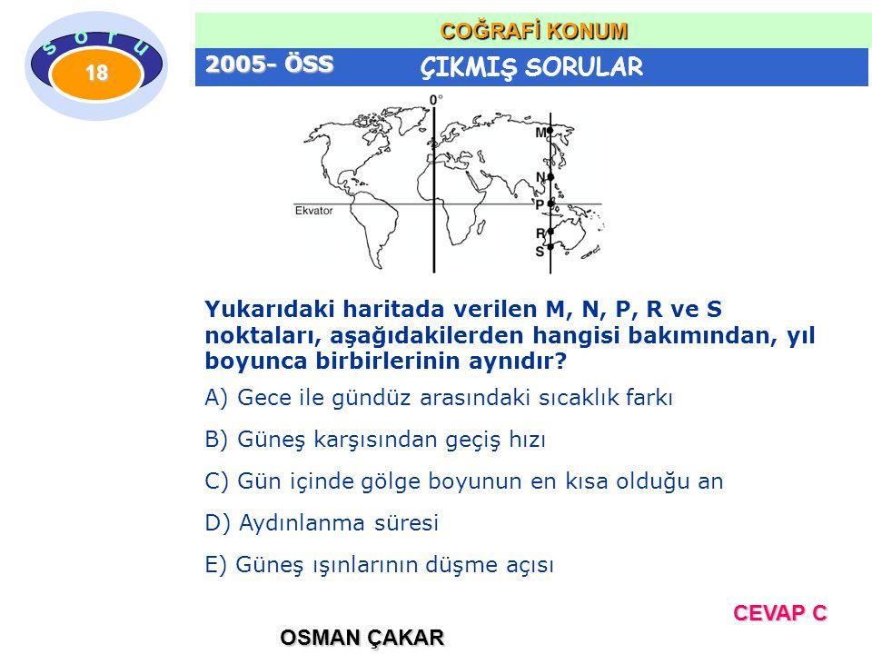 2005- ÖSS Yukarıdaki haritada verilen M, N, P, R ve S noktaları, aşağıdakilerden hangisi bakımından, yıl boyunca birbirlerinin aynıdır