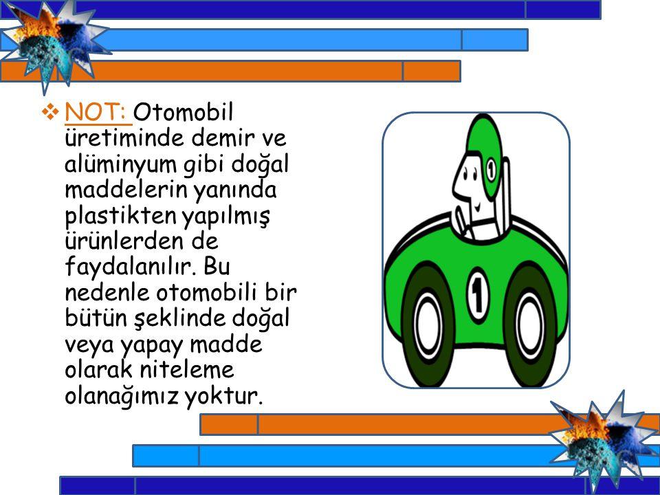 NOT: Otomobil üretiminde demir ve alüminyum gibi doğal maddelerin yanında plastikten yapılmış ürünlerden de faydalanılır.