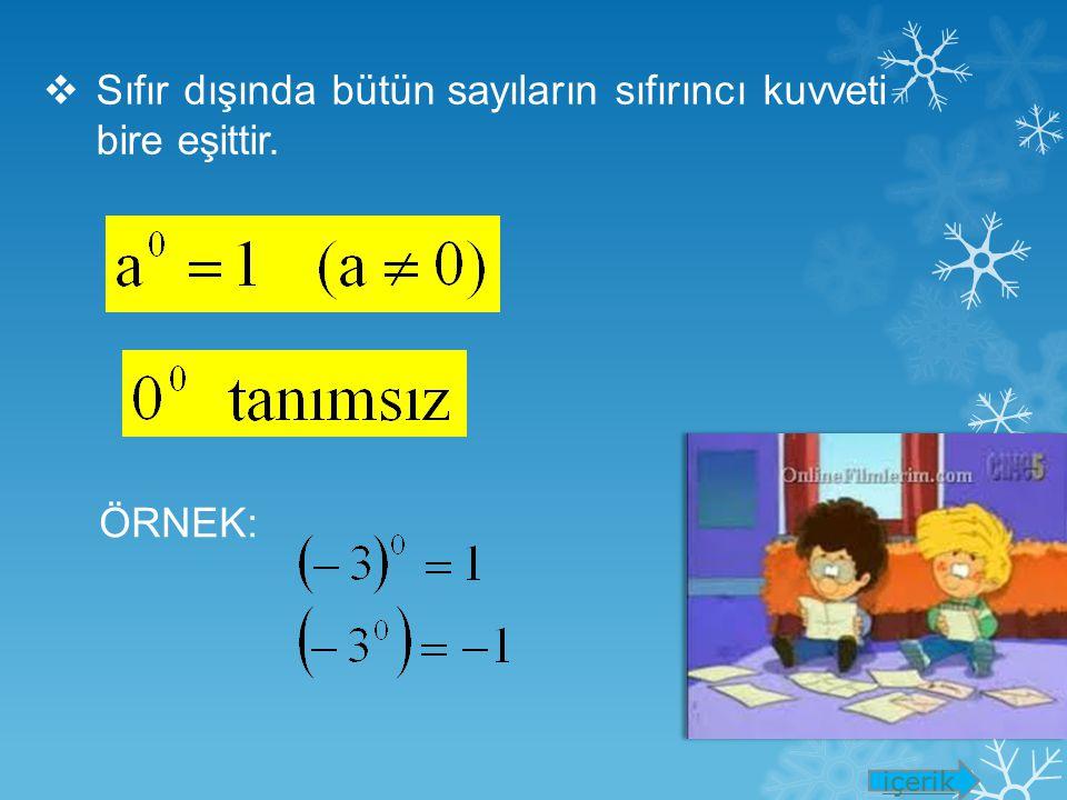 Sıfır dışında bütün sayıların sıfırıncı kuvveti bire eşittir.
