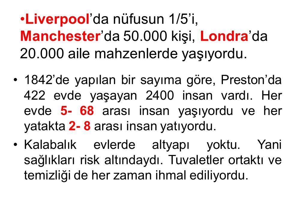 Liverpool'da nüfusun 1/5'i, Manchester'da 50. 000 kişi, Londra'da 20