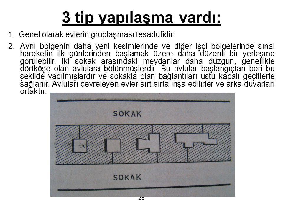 3 tip yapılaşma vardı: Genel olarak evlerin gruplaşması tesadüfidir.