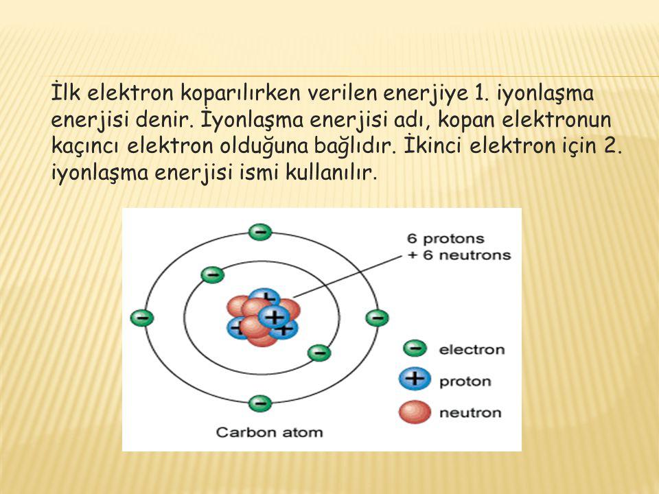 İlk elektron koparılırken verilen enerjiye 1. iyonlaşma enerjisi denir