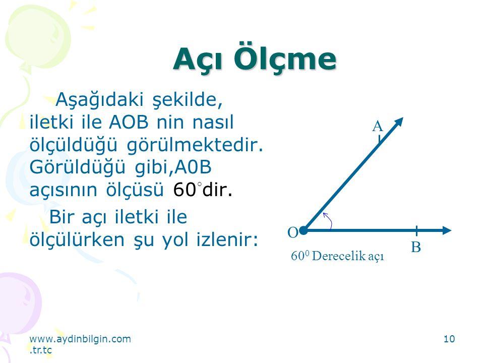 Açı Ölçme Aşağıdaki şekilde, iletki ile AOB nin nasıl ölçüldüğü görülmektedir. Görüldüğü gibi,A0B açısının ölçüsü 60°dir.