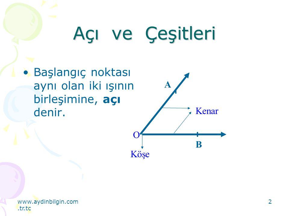 Açı ve Çeşitleri Başlangıç noktası aynı olan iki ışının birleşimine, açı denir. Kenar. O. Köşe.