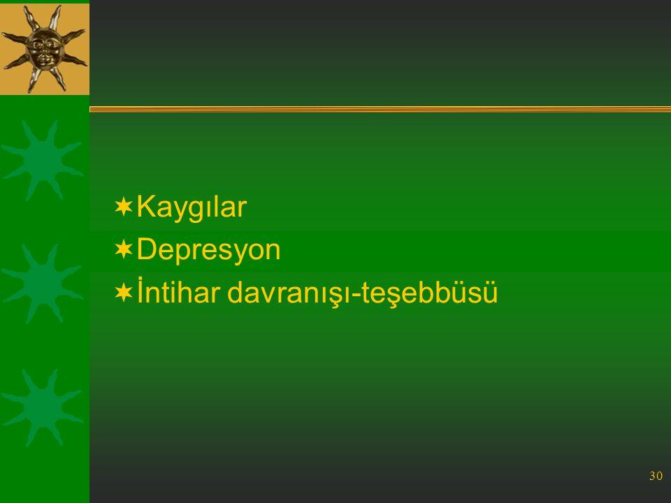 Kaygılar Depresyon İntihar davranışı-teşebbüsü
