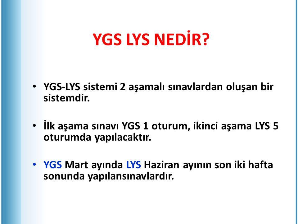 YGS LYS NEDİR YGS-LYS sistemi 2 aşamalı sınavlardan oluşan bir sistemdir. İlk aşama sınavı YGS 1 oturum, ikinci aşama LYS 5 oturumda yapılacaktır.