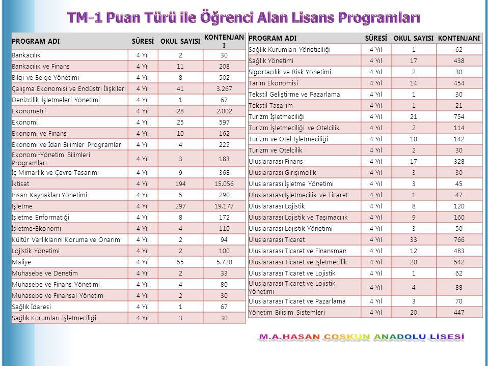 TM-1 Puan Türü ile Öğrenci Alan Lisans Programları