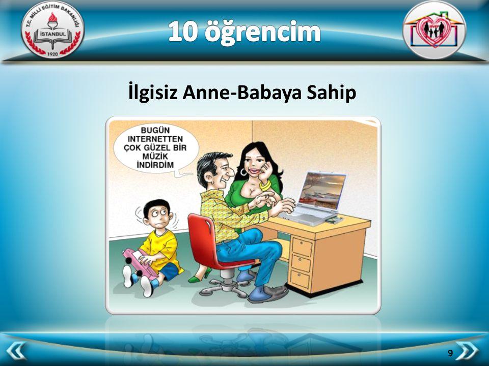 10 öğrencim İlgisiz Anne-Babaya Sahip