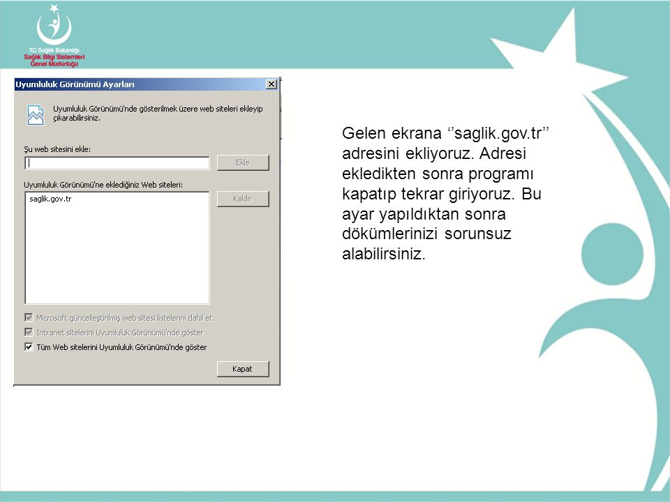 Gelen ekrana ''saglik. gov. tr'' adresini ekliyoruz