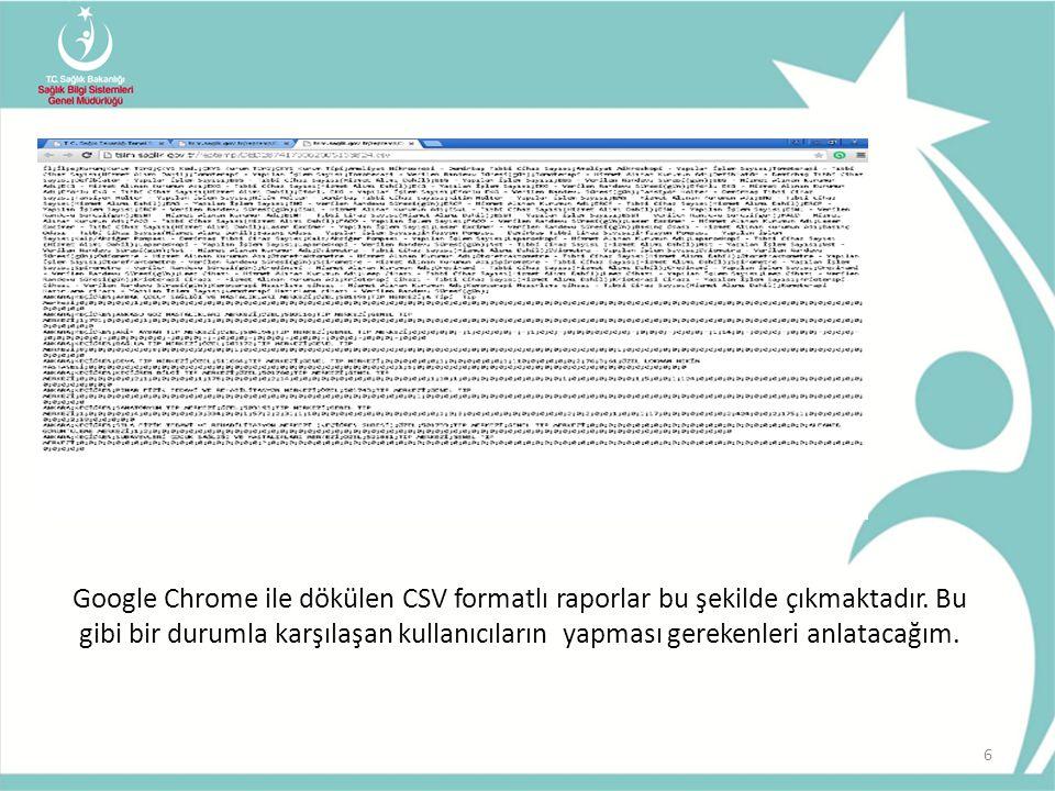 Google Chrome ile dökülen CSV formatlı raporlar bu şekilde çıkmaktadır