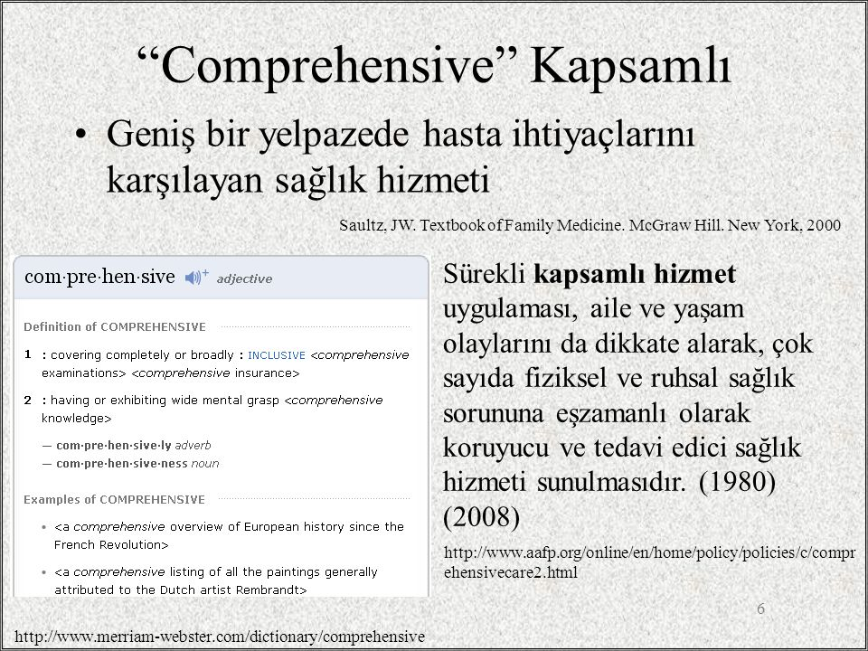Comprehensive Kapsamlı
