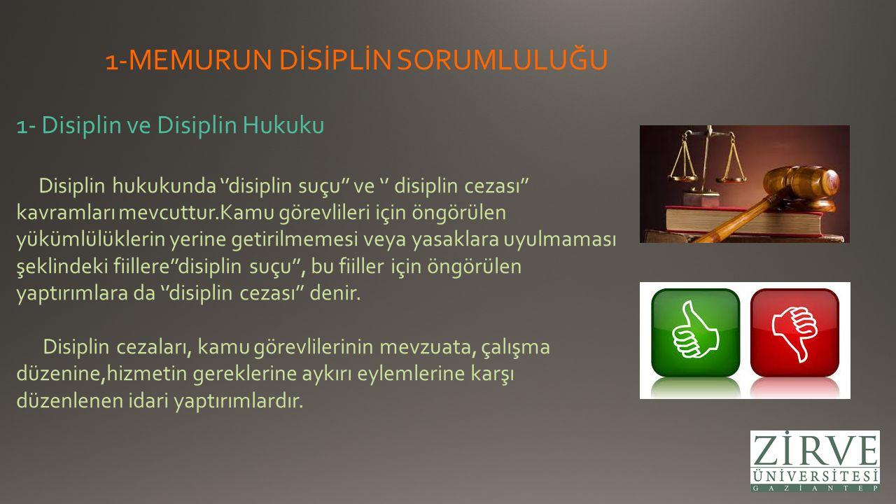 1-MEMURUN DİSİPLİN SORUMLULUĞU 1- Disiplin ve Disiplin Hukuku