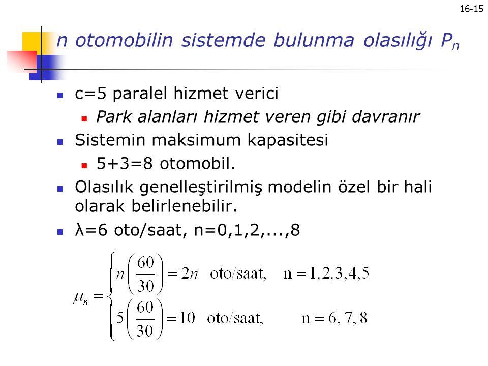 n otomobilin sistemde bulunma olasılığı Pn