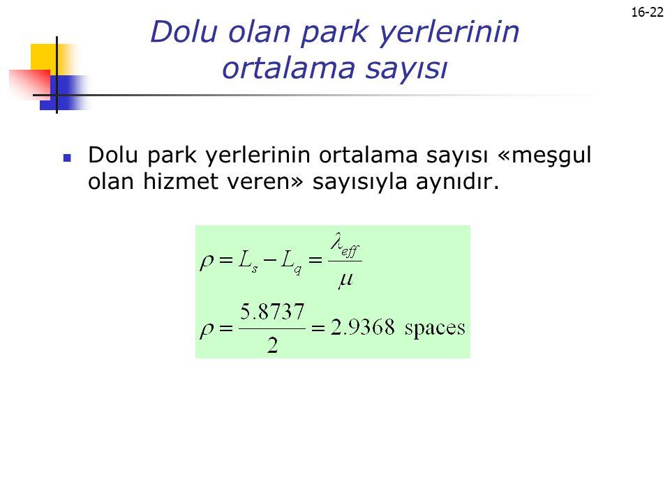 Dolu olan park yerlerinin ortalama sayısı