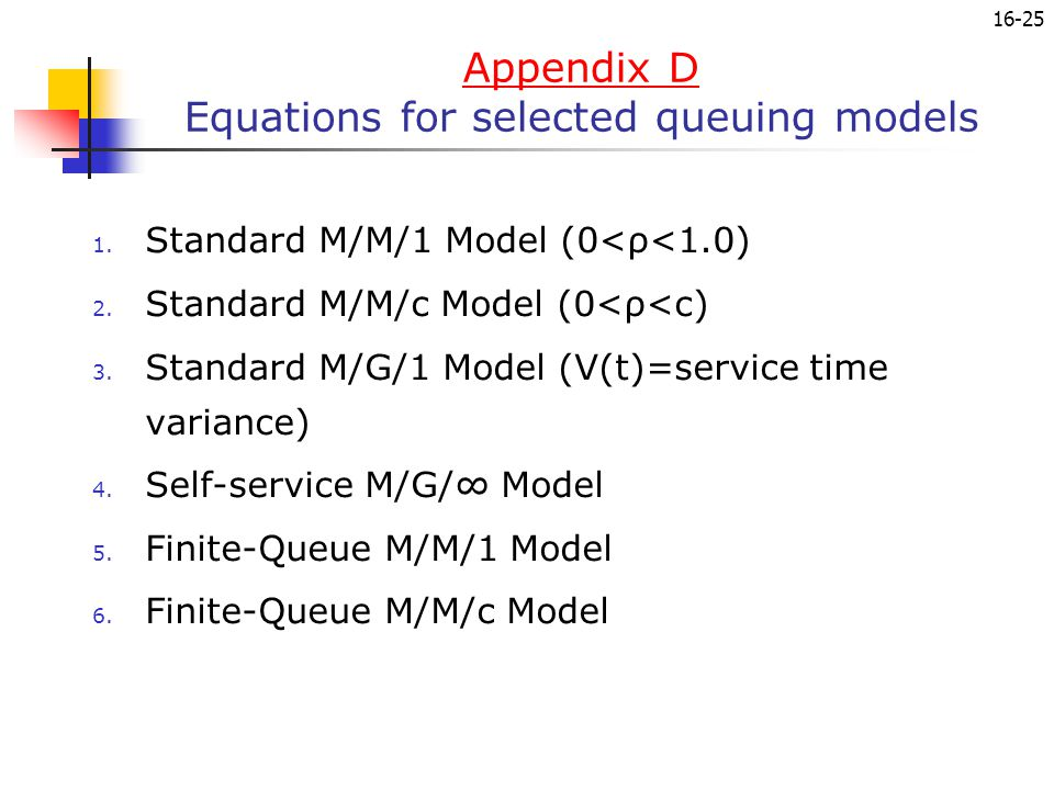 Appendix D Equations for selected queuing models