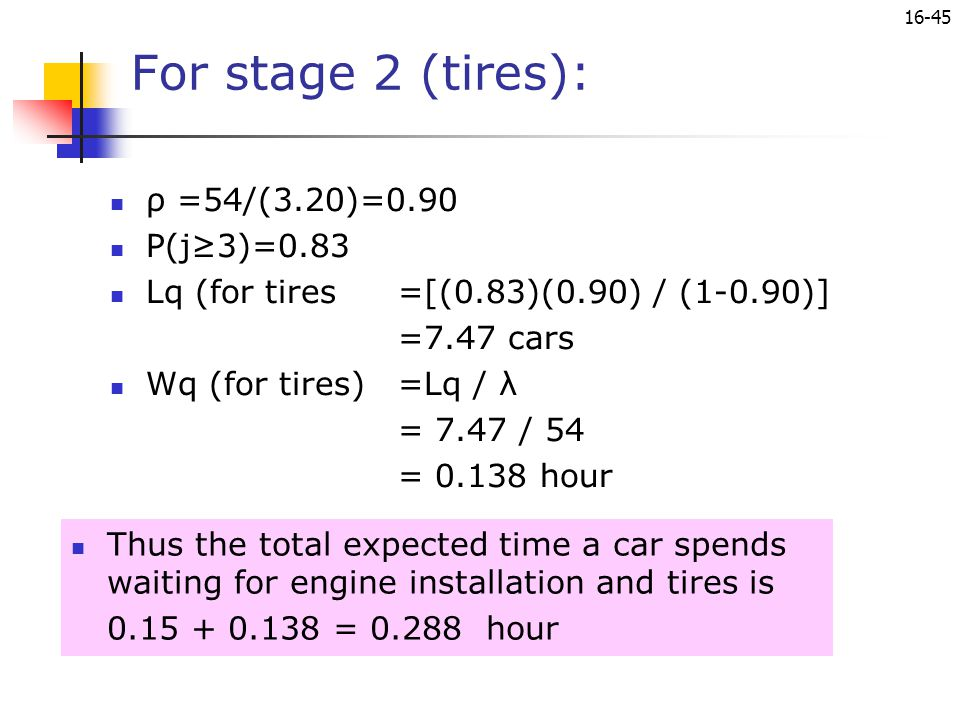 For stage 2 (tires): ρ =54/(3.20)=0.90 P(j≥3)=0.83
