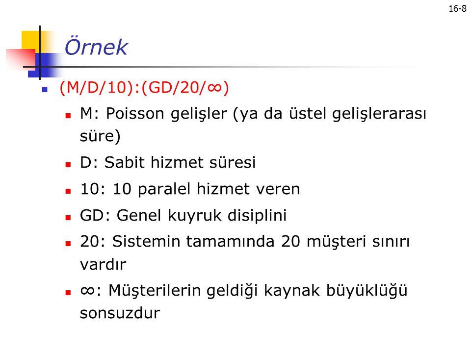 Örnek (M/D/10):(GD/20/∞) M: Poisson gelişler (ya da üstel gelişlerarası süre) D: Sabit hizmet süresi.