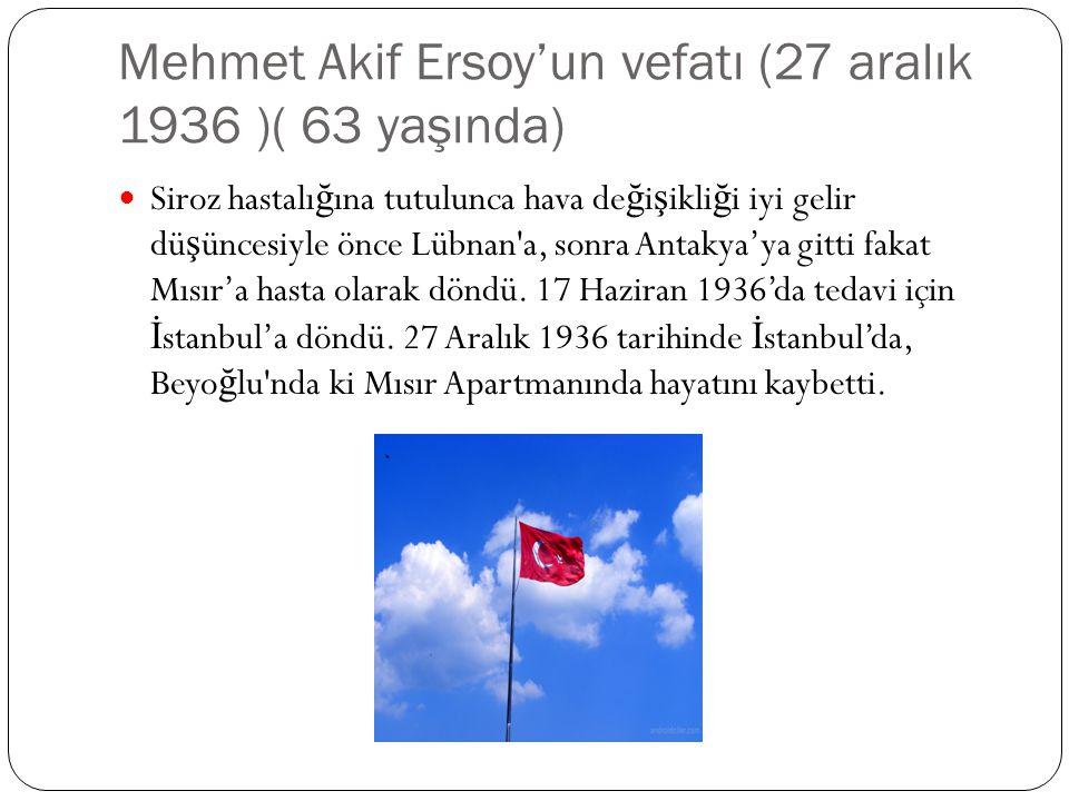 Mehmet Akif Ersoy'un vefatı (27 aralık 1936 )( 63 yaşında)