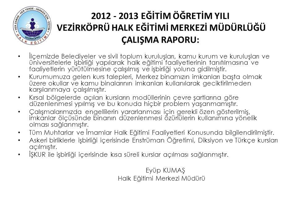 2012 - 2013 EĞİTİM ÖĞRETİM YILI VEZİRKÖPRÜ HALK EĞİTİMİ MERKEZİ MÜDÜRLÜĞÜ ÇALIŞMA RAPORU: