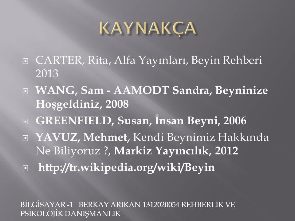 KAYNAKÇA CARTER, Rita, Alfa Yayınları, Beyin Rehberi 2013