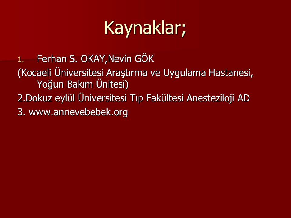 Kaynaklar; Ferhan S. OKAY,Nevin GÖK