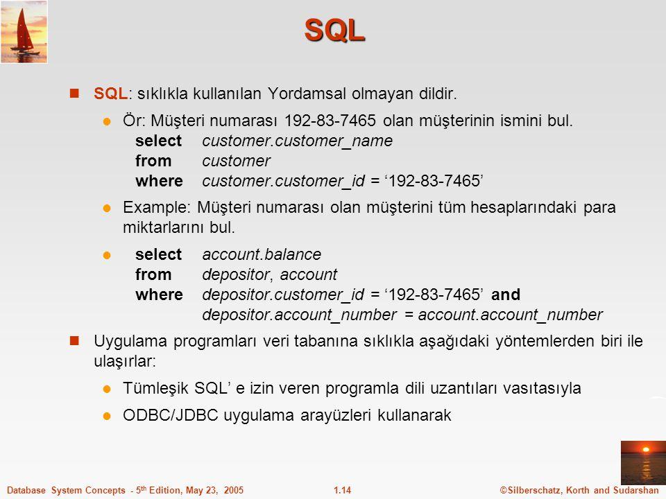 SQL SQL: sıklıkla kullanılan Yordamsal olmayan dildir.