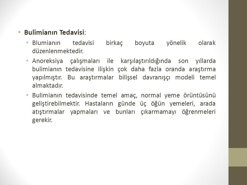 Bulimianın Tedavisi: Blumianın tedavisi birkaç boyuta yönelik olarak düzenlenmektedir.