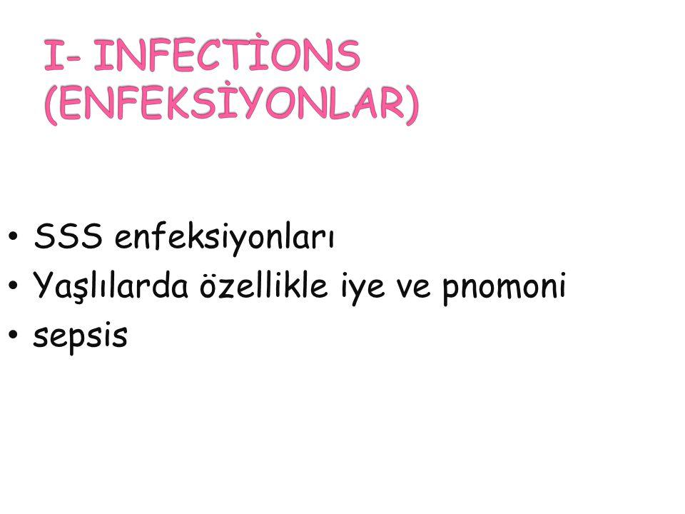 SSS enfeksiyonları Yaşlılarda özellikle iye ve pnomoni sepsis