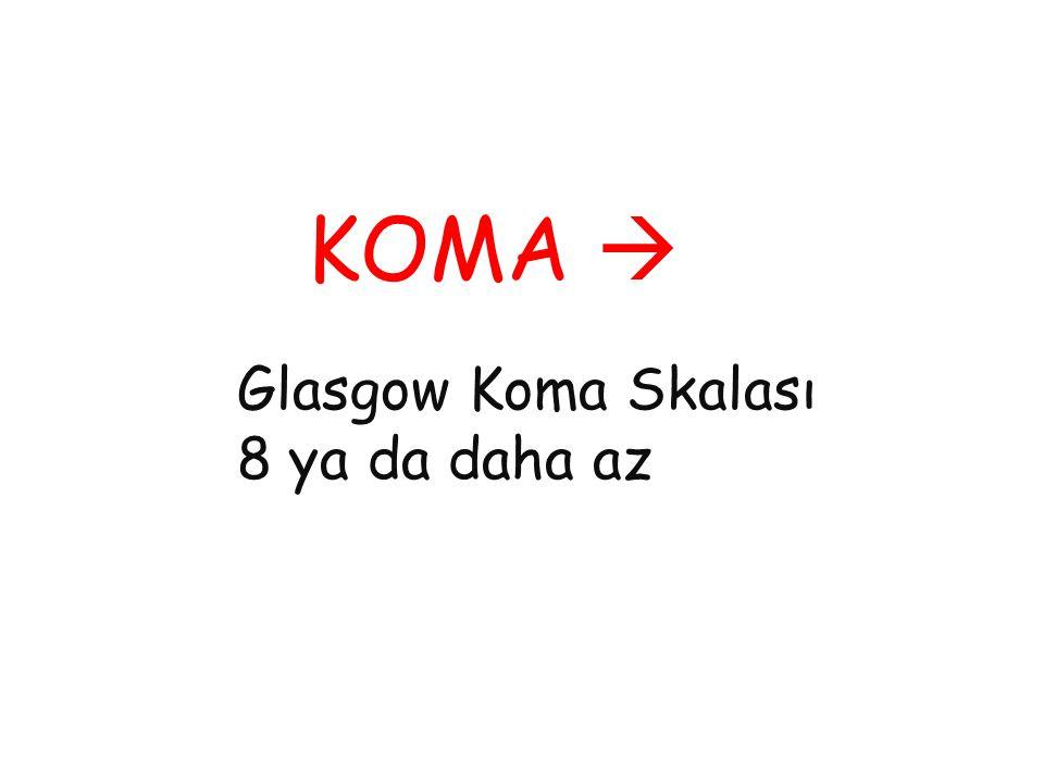 KOMA  Glasgow Koma Skalası 8 ya da daha az