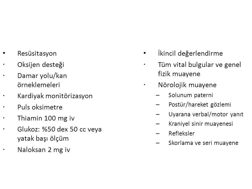 Damar yolu/kan örneklemeleri Kardiyak monitörizasyon Puls oksimetre