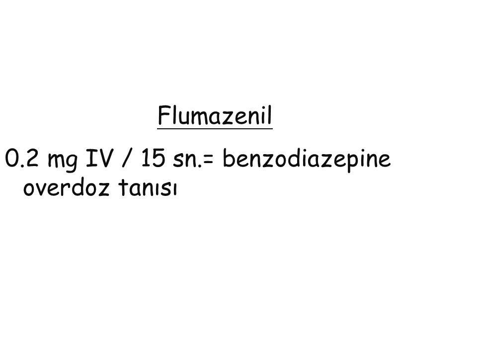 Flumazenil 0.2 mg IV / 15 sn.= benzodiazepine overdoz tanısı