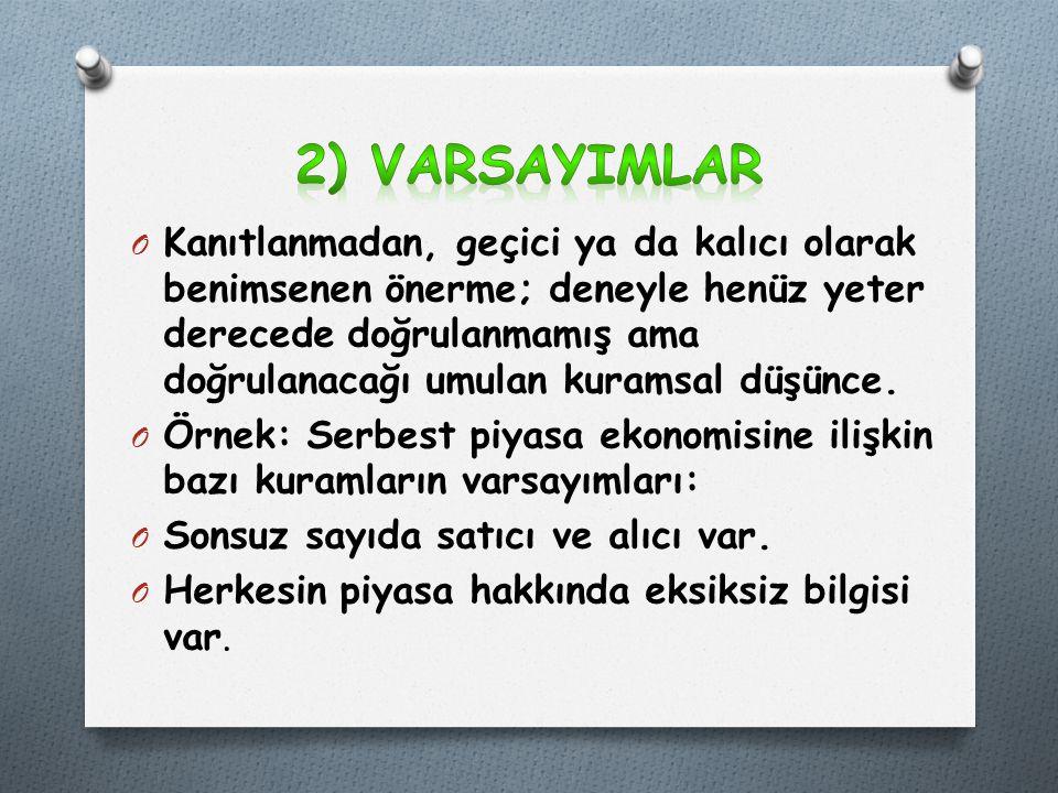 2) VARSAYIMLAR