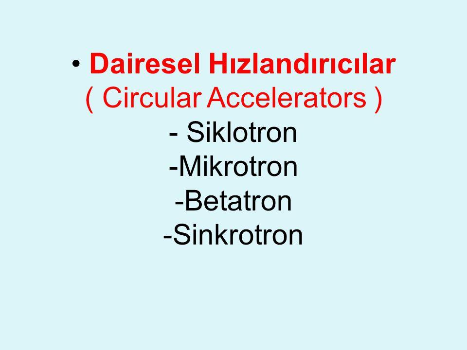 • Dairesel Hızlandırıcılar ( Circular Accelerators ) - Siklotron