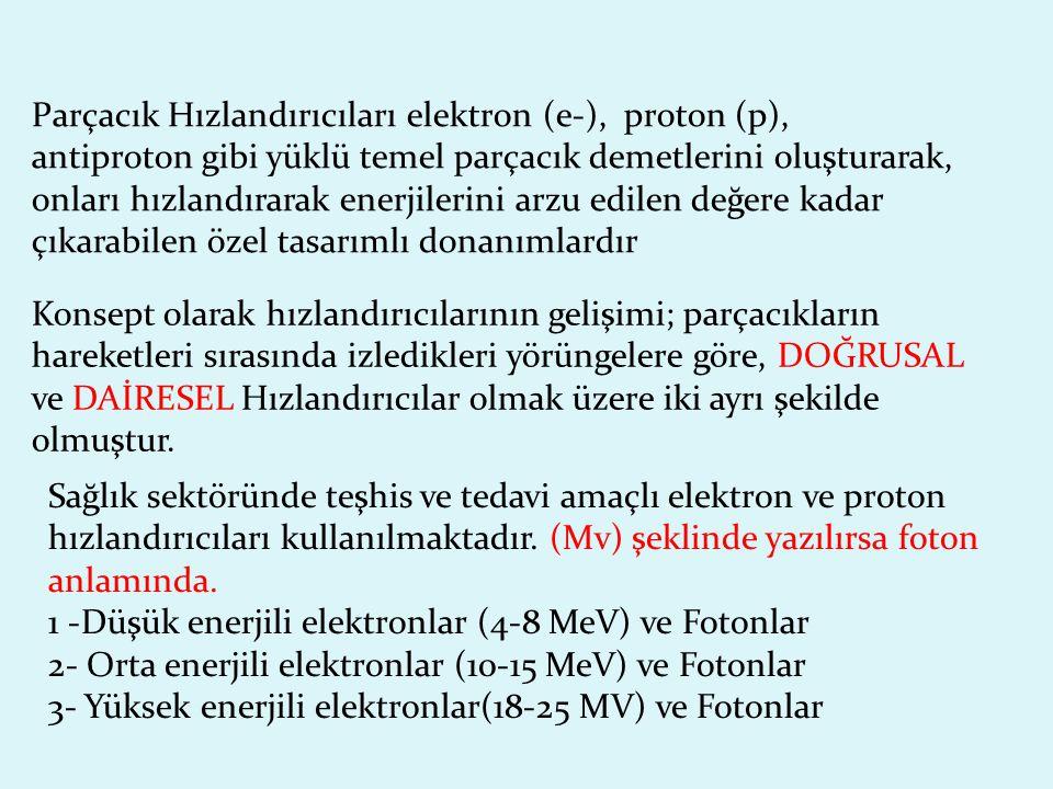 Parçacık Hızlandırıcıları elektron (e-), proton (p),