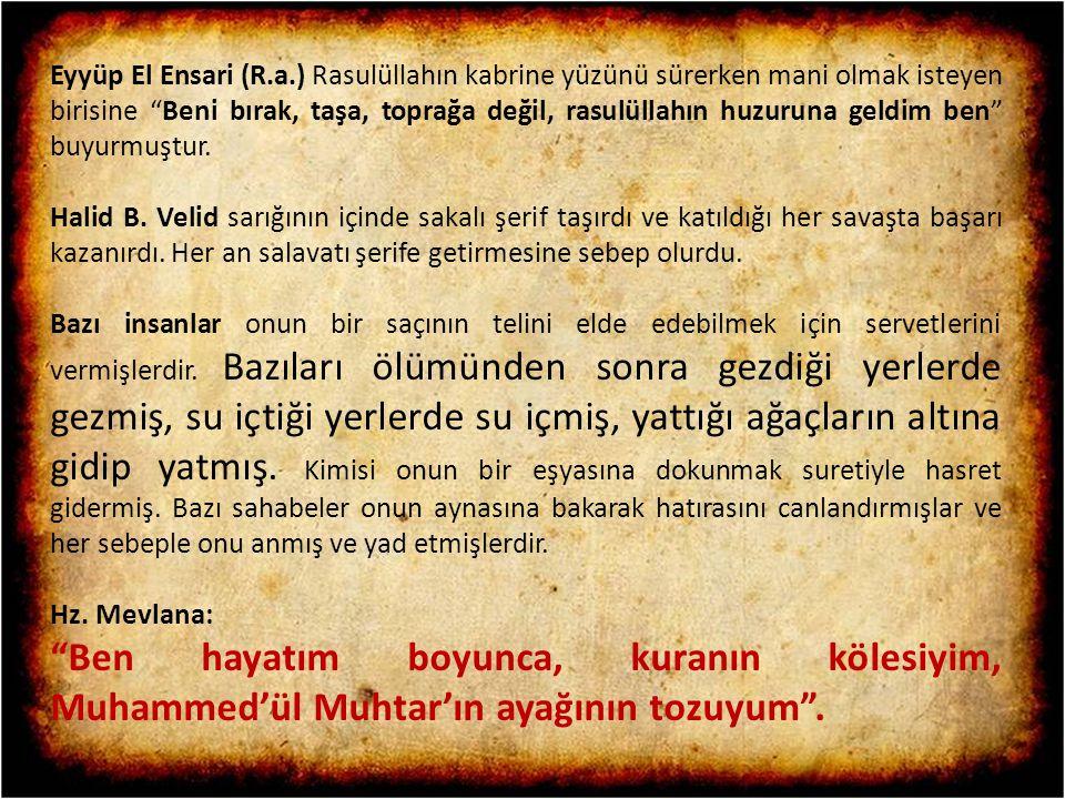 Eyyüp El Ensari (R.a.) Rasulüllahın kabrine yüzünü sürerken mani olmak isteyen birisine Beni bırak, taşa, toprağa değil, rasulüllahın huzuruna geldim ben buyurmuştur.