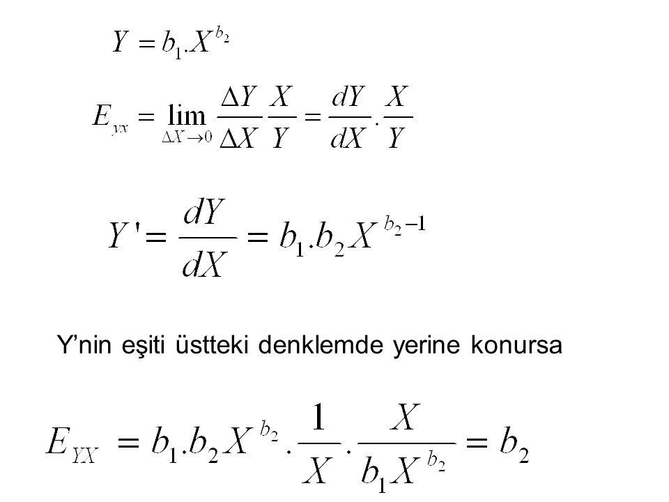 Y'nin eşiti üstteki denklemde yerine konursa