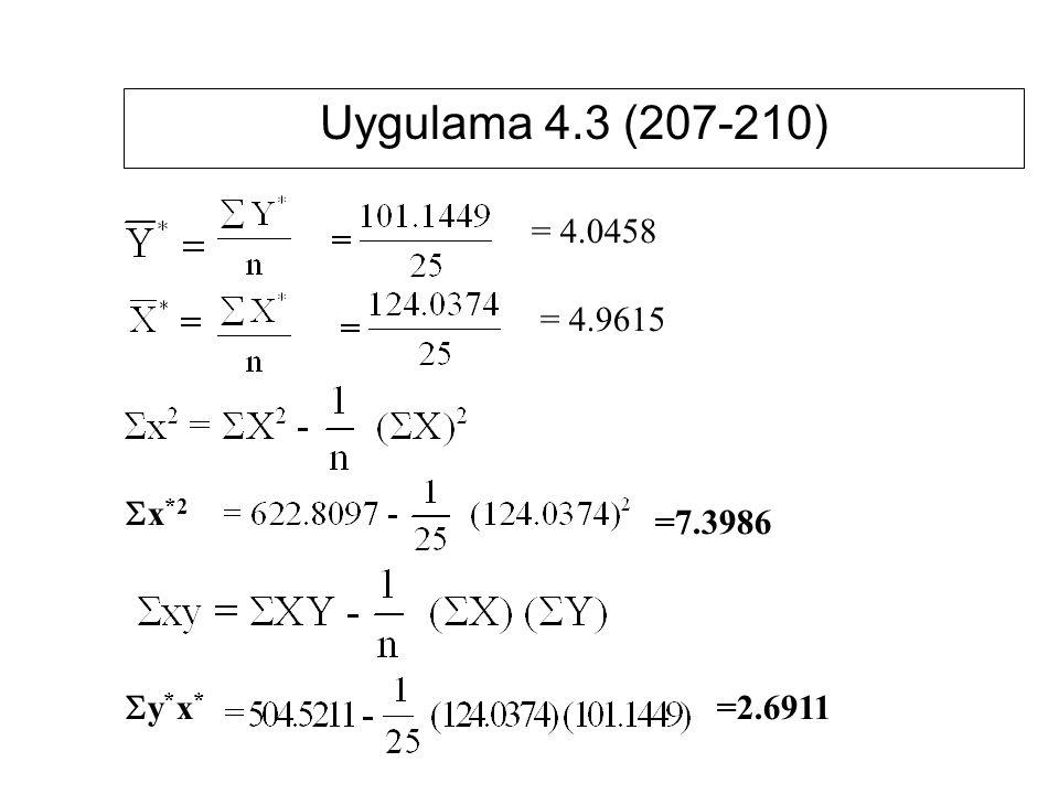 Uygulama 4.3 (207-210) = 4.0458 = 4.9615 Sx*2 =7.3986 Sy*x* =2.6911