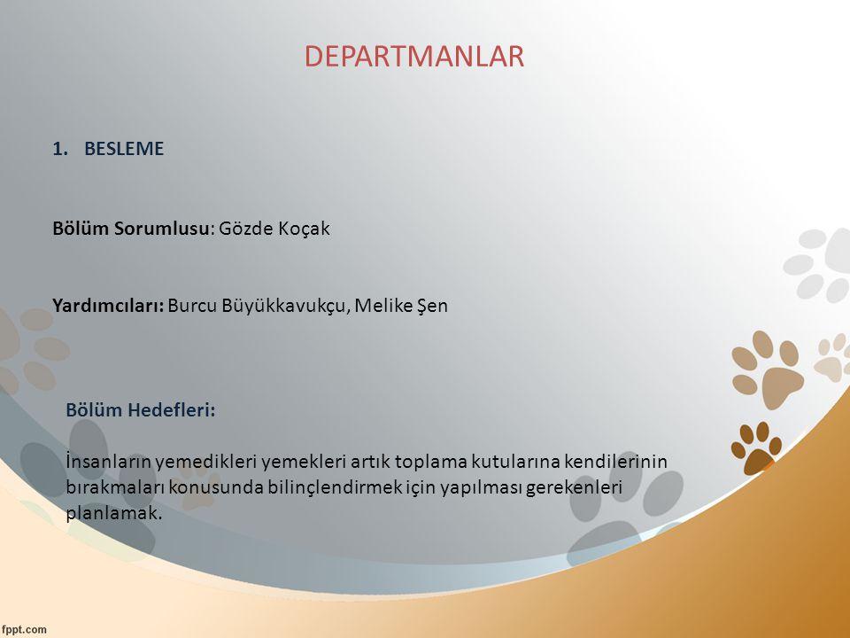 DEPARTMANLAR BESLEME Bölüm Sorumlusu: Gözde Koçak