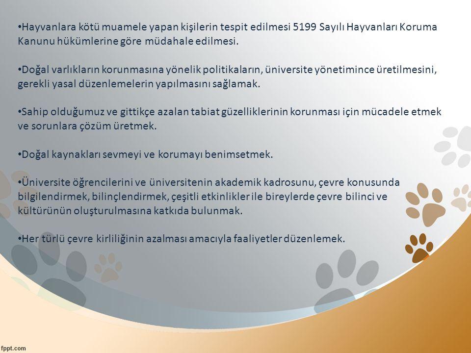 Hayvanlara kötü muamele yapan kişilerin tespit edilmesi 5199 Sayılı Hayvanları Koruma Kanunu hükümlerine göre müdahale edilmesi.