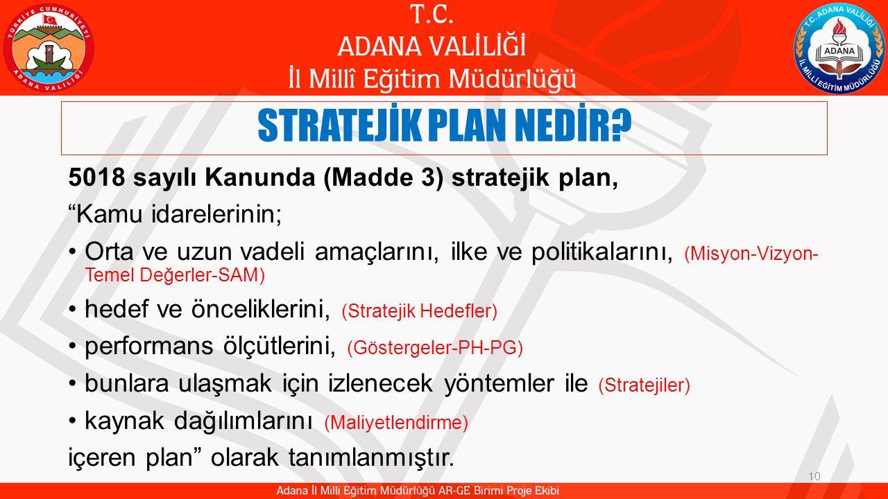 STRATEJİK PLAN NEDİR 5018 sayılı Kanunda (Madde 3) stratejik plan,