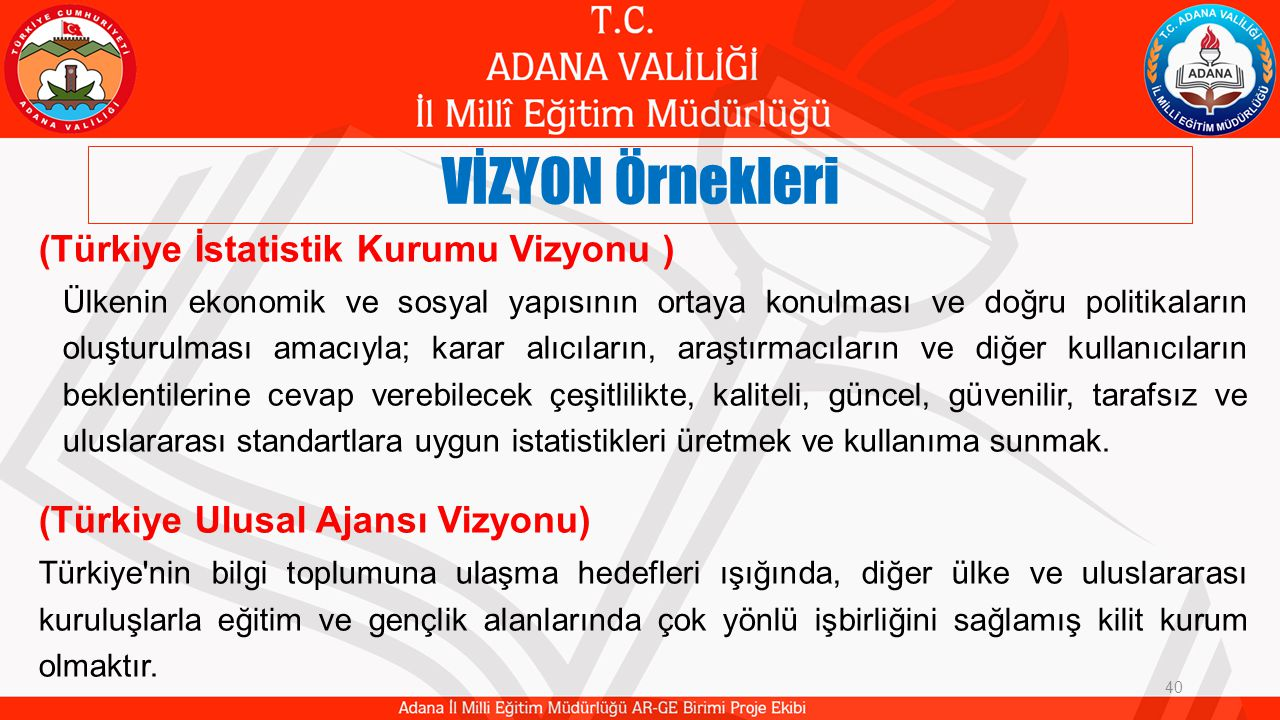 VİZYON Örnekleri (Türkiye İstatistik Kurumu Vizyonu )