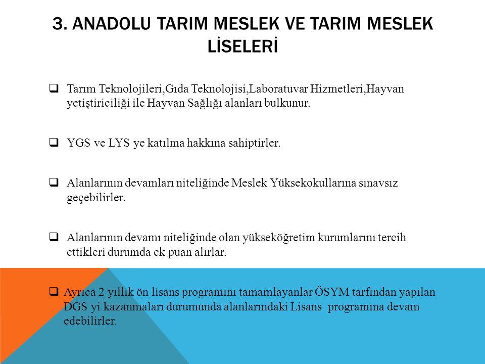 3. Anadolu tarIM MESLEK VE TARIM MESLEK LİSELERİ
